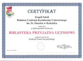 """ZSRCKU - Certyfikat """"Biblioteka przyjazna uczniowi"""""""